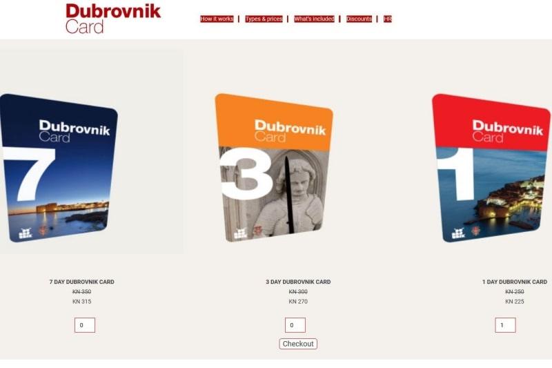 ドゥブロヴニクカード オンラインでの購入方法と受け取り場所